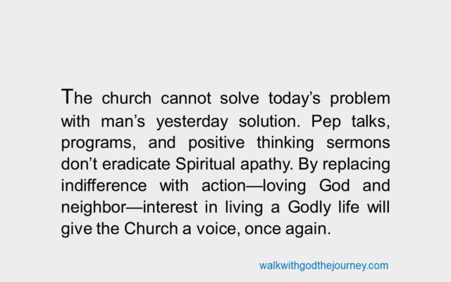 THE CHURCH CANNOT SOLVE TODAY'S PROBLEM…