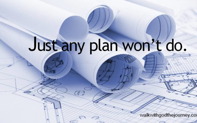 JUST ANY PLAN WON'T DO